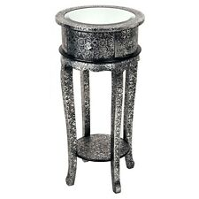 Blackened Silver Metal Embossed Mirrored Top 1 Drawer Side Plant Bedside Table