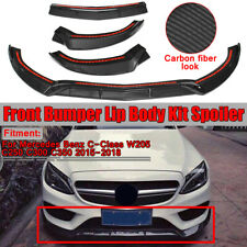 For Mercedes Benz W205 C250 C300 C350 15-18 Carbon Fiber Look Front Bumper Lip