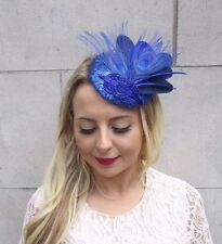 Royal Blue Sequin Feather Fascinator Pillbox Races Wedding Hat Headpiece 3706