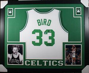 LARRY BIRD Signed/Autographed 35x43 Framed Jersey - Beckett/BAS