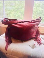 Patricia Nash Leather Fringed Hobo Red Distressed Shoulder Bag Purse Tote