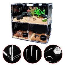4 Grids Reptile Cage Enclosure Box Tarantula Insect Scorpion clear display case