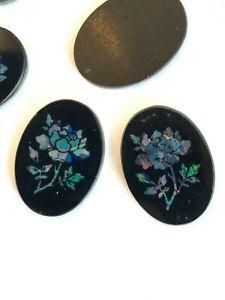 V207  - 6 Vintage Black Opal Mosaic Flower Inlay Cabs - 18x13mm - Big! - Colors