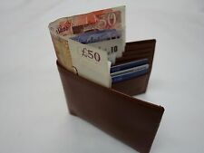 Gent's Cow Leather Wallet with four Paper Money Pockets Large Size Tan Colour