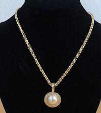 "Classic Vintage Braided Roman Gold Pearl Crystal Rhinestone Pendant 18"" Necklace"