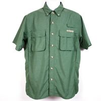 ExOfficio Nylon Blend Vented Outdoor Fishing Hiking Shirt Men's Small Green