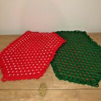 "Vintage Handmade Crochet Christmas Placemats Set  2 Red Green Yarn Knit 20""x13"""
