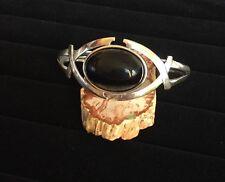 Sterling Silver Cuff Bracelet with 30.5 Carat High Dome Black Onyx Gemstone