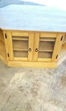 Solid oak TV stand with shelving and doors, handcrafted, condition is new.