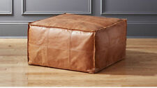 Indian Handmade Leather Ottoman Pouf Vintage Brown Cigar Leather Ottoman Pouf