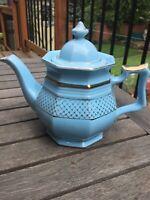"ENECSCO Turquoise & Gold Octagonal Teapot 7"" Tall"