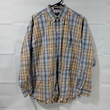 Sir Pendleton Mens Large Cotton Shirt Yellow Blue Long Sleeve Button Up