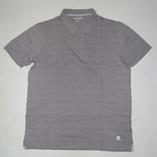 NWT Mens DKNY Short Sleeve No Buttons Gray Striped Polo Shirt Size M Medium
