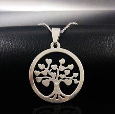 Halskette collier Edelstahl Baum des Lebens Lebensbaum Herz Familie Geschenk