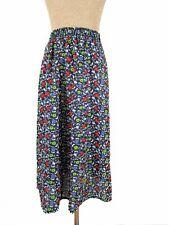 Vintage Womens High Waist Floral Skater Flared Long Knee Skirt Party Dress BB78