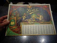 Ancien Calendrier 1911 Poèle Fonte Insèrt de Cheminée et ancienne Lampe  Gaz