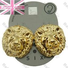 LARGE LION HEAD 3cm BIG GOLD FASHION EARRINGS doorknocker HIP HOP STUDS lions