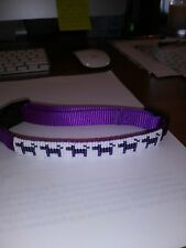 Purple nylon adjustable medium dog collar beaded.