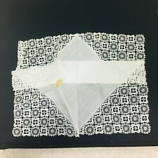 Vintage Deep Lace Edge Corner Hankie White Original Foil Cotton Austria Tag 113/
