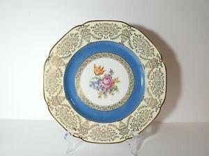VINTAGE PT BAVARIA TIRSCHENREUTH BLUE WHITE GOLD FLORAL PLATE