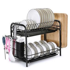 Large Capacity Dish Rack 2 Tier w/ Utensil Holder Drainer Drying Kitchen Storage