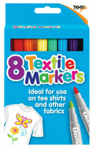 8 Textile Markers Tiger Fabric Pens Arts Crafts Design Kids Create Clothes Pens