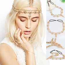 Womens Pearl Rhinestone Head Chain Jewelry Headband Head Piece Hair Band HL