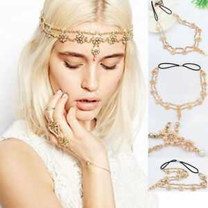Womens Pearl Rhinestone Head Chain Jewelry Headband Head Piece Hair Band  OH