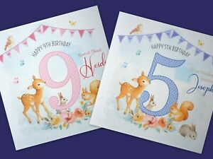 Personalised Child's birthday card Age 1, 2.3, 4, 5, 6, 7 ,8, 9 / Forest animals