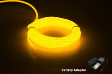 5M  Neon LED Light Glow EL Wire String Strip Rope  Dance Party YELLOW BATTERY
