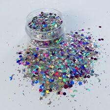 MOONSHINE MULTI COLOUR MOON STARS chunky FESTIVAL FACE BODY NAIL glitter 10g