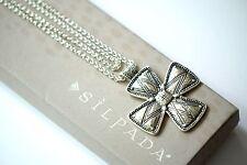 "Silpada NIB ""Posh Principles"" Etched Sterling Silver Cross Necklace 32"" N3185"