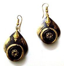 Handmade Painted Wooden Wood Earrings Jhumki Ethnic Chic Boho Drop Long EA307