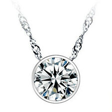 Round Single Rhinestone Silver plated Pendant Necklace Jewelry Lovers Gift