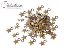 50 Breloques étoile couleur bronze 11 x 9 mm