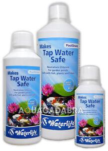 WATERLIFE POOLSHIELD 250ml 500ml 1L LITRE TAP WATER SAFE DECLORINATOR FISH POND