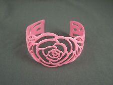 "cuff bracelet rose flower Coral painted enamel cutout metal bangle 1 5/8"" wide"