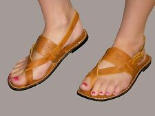 7 NOS VTG 1970s Gladiator Sandal Gold Brown Stamped LEATHER Loop Toe 70s Shoe