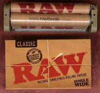 RAW Hemp Plastic 70mm Roller + Single Wide Unbleached Rolling Papers 100 leaves