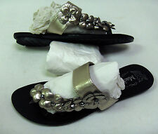 MADELINE GOLD SANDALS KATHIA 7 OR 8 SHOES FLATS OPEN TOE RING SLIP ONS FLOWERS