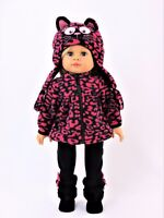 """Hot Pink Leopard Kitty Pant Hat Set Fits American Girl 18"""" Doll Clothes"""