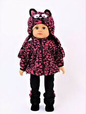 "Hot Pink Leopard Kitty Pant Hat Set Fits American Girl 18"" Doll Clothes"