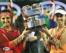 Martina Hingis Sania Mirza  Signed Tennis Dual Auto 8x10 PHOTO Beckett BAS COA