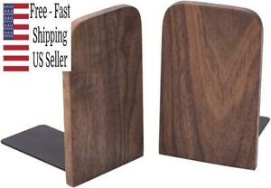 Vintage Wooden Bookends with Metal Base 2 Pcs Heavy Duty Black Walnut Book Stand