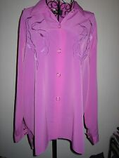 A STYLISH WOMES EXELL LONDON PINK TOP LONG SLEEVES WITH BUTTON FASTENER SIZE 20