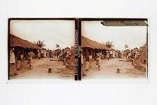 Guinée Colonialisme Afrique Plaque de verre stereo 6x13cm Vintage ca 1910