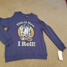 Star Wars R2-D2 blue THIS IS HOW I ROLL brand new top S cold shoulders