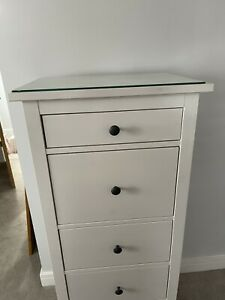 Ikea White Hemnes Tall Boy Chest Of Drawers With Matching Glass Top