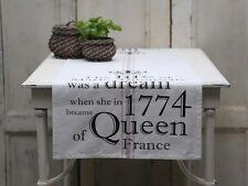 Chic Antique Tischläufer weiss sand schwarz Krone Marie Antoinette 45 x 140 cm