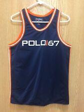 VTG Ralph Lauren Polo Sport Mens Size Small Logo Spellout Blue Tank Top T Shirt